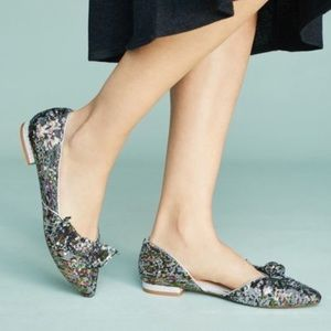 Anthropologie Cecelia NY Sequin Bow Flats Size 6